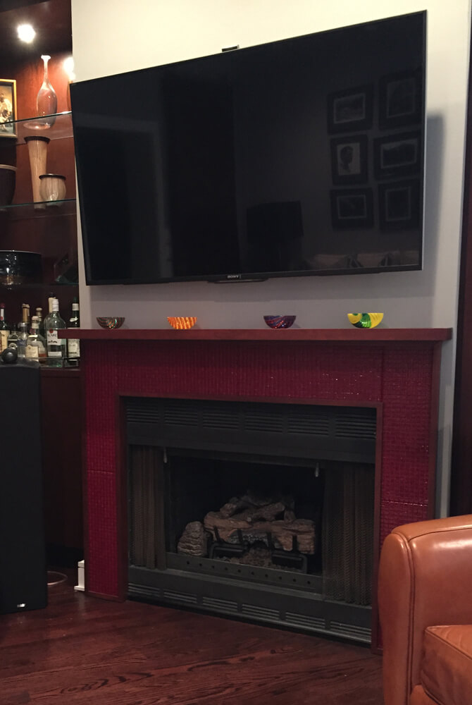 NW Fireplace Installation - Colorbar Murrine: Pomegranate