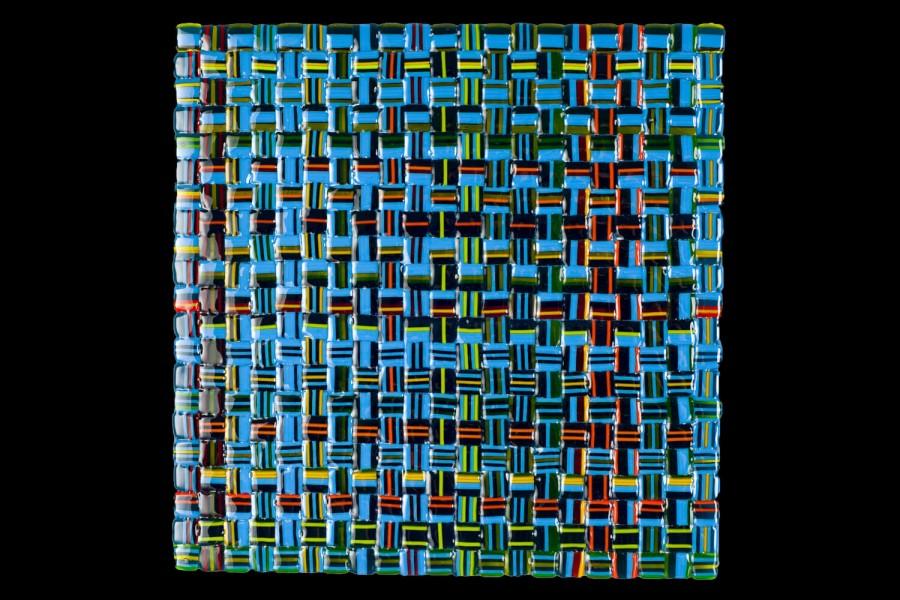 """Summer Salsa Weave (Blue) – 12""""w x 12""""h"""