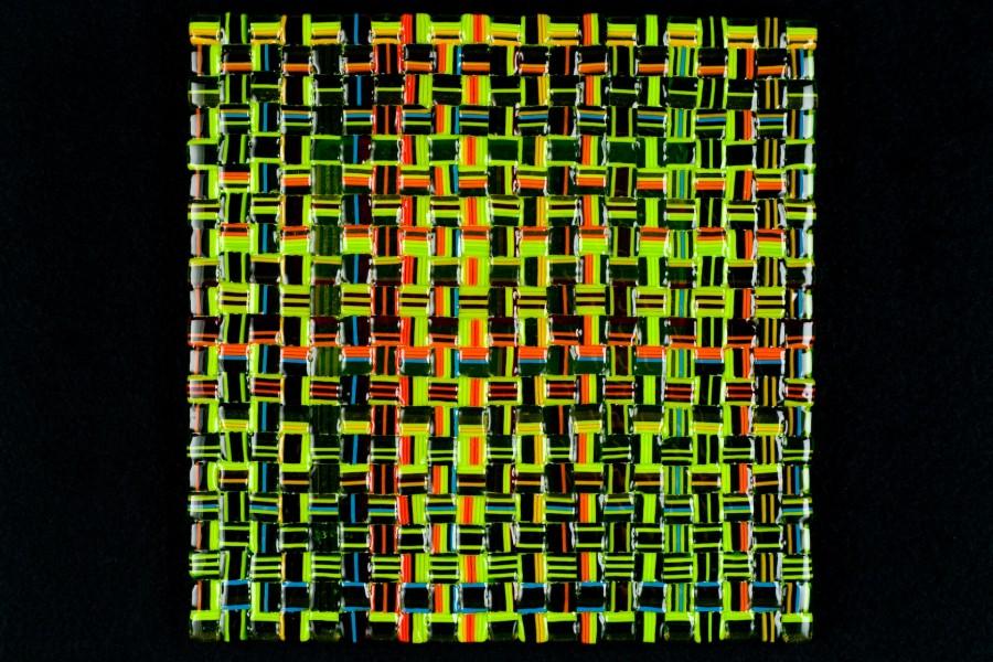 """Summer Salsa Weave (Green) – 12""""w x 12""""h"""