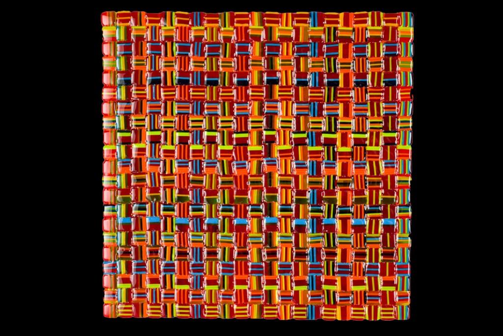 """Summer Salsa Weave (Orange) – 12""""w x 12""""h"""