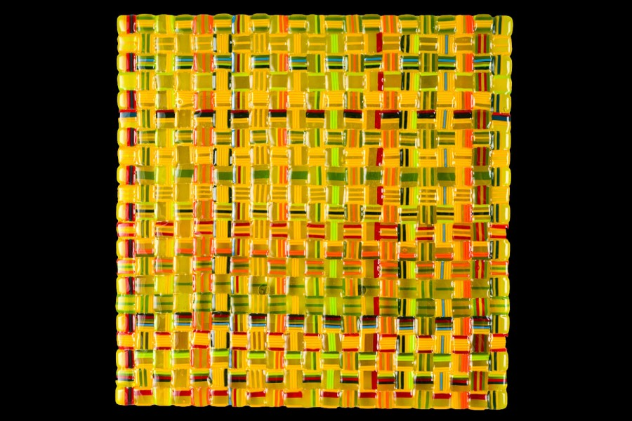 "Alternative Text: Summer Salsa Weave (Yellow) – 12""w x 12""h"